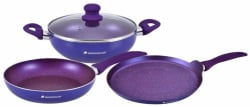 Wonderchef Blueberry Induction Bottom Cookware Set (PTFE (Non-stick), 3 - Piece)