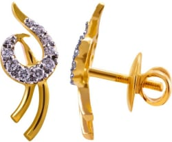 Joyalukkas Yellow Gold 18kt Stud Earring (Rhodium, Yellow Gold Plated)