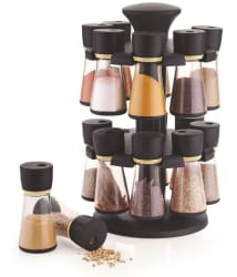 Jen 16- Jar Black Revolving Masala Rack Polycarbonate Spice Container Set of 16