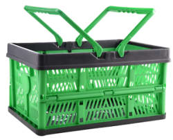 Details about Foldable Vegetable Plastic Basket Crates with Handle