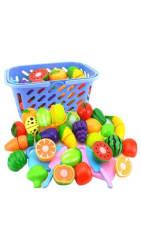 Fruit Vegetable Food Cutting Set Reusable Role Play Pretend Kitchen Kids Toys(4 Fruit & Vegetables Sent Randomly)