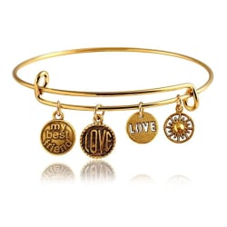 Hot And Bold Gold Plated Love/Valentine Bangle Bracelet For Women & Girls. Made with Certified Natural Stones. Party wear / Daily Wear