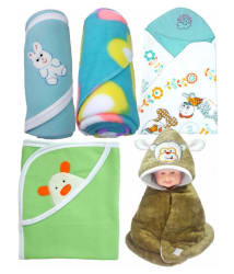 BRANDONN Multi-Colour Flannel Baby Blanket ( 66 cm × 66 cm- 5 pcs)