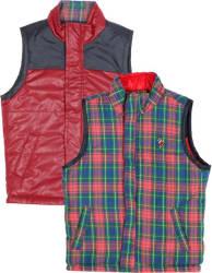 US Polo Kids Sleeveless Checkered Boys Reversible Jacket