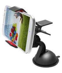 Car Mobile Holder with 360 degree rotation- Single Clamp for Dashboard & Windshield - Black
