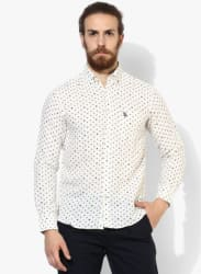 Off White Printed Regular Fit Casual Shirt