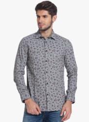 Grey Printed Slim Fit Casual Shirt