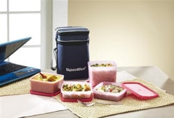 Signoraware Director Special Lunch Box With Bag, multicolor