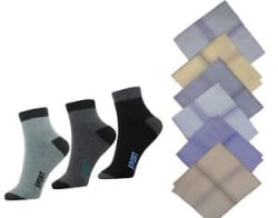 Details about  Combo of 4 Pair Socks & 4 handkerchief (Color will be sent as per Availability)