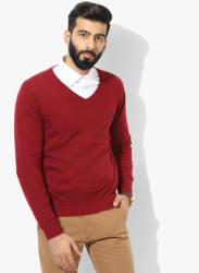 Maroon Solid V Neck Sweater