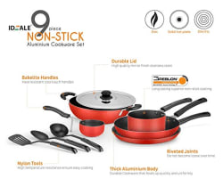 Ideale 9-Piece Non Stick Cookware Set-Red
