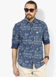 Navy Blue Printed Slim Fit Casual Shirt