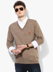 Beige Solid V Neck Sweater