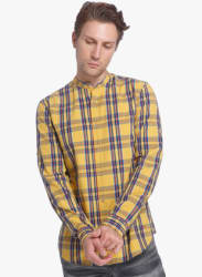 Mustard Yellow Checked Slim Fit Casual Shirt