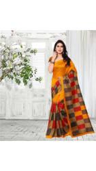 Jaanvi Fashion Designer Yellow Bhagalpuri Silk Printed Saree
