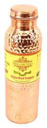 IndianArtVilla Hammered Thermos Design Copper Bottle, Travelling Purpose, Ayurveda Healing, 800 ML