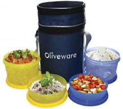 Details about Oliveware Plastic Smart Lunch Bag, 2 Big And 2 Small, Set Of 4 Pieces, Blue