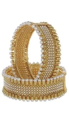 YouBella Traditional Jewellery Pearl Studded Gold Plated Bangles for Girls and Women