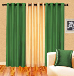 Cortina Plain Set Of 3- 7Ft Curtain, green ivory