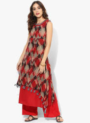 Round Neck Sleevesless Printed Kurta With Plain Slip Inside And Mirror Embroidery At Neck
