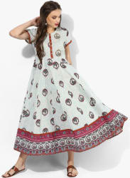 Round Neck Short Sleeves Printed Anarkali With Embroidery Highligh