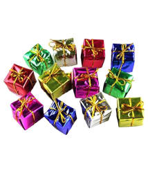 Miniature Christmas Tree Decoration Faux Gift Box- (Pack of 12)