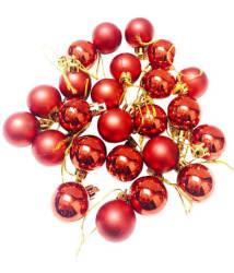 Priyankish Plastic Christmas Tree Decoration Red-(Pack of 24)