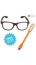 Wake Wood Arc Coating Wayfarer Sunglasses for Men & Women (Chocolate Brown Frame) + Free USB Light