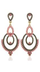 YouBella Fashion Jewellery Bohemian Stylish Fancy Party Wear Earrings for Girls and Women (Pink)