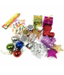 Unique Arts & Interiors Plastic Multicolour Christmas Tree Decoration-(Pack of 24)