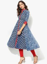 Mandarin Collar Pure Indigo Print Anarkali With Red Ikkat Detailing & 3/4Th Sleeves