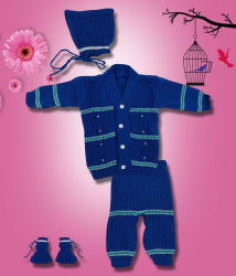 The Creators Blue Comfortable Unisex Sweater Set ( 0-6 Months)