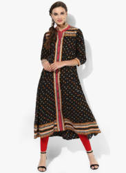 Band Collar Printed Anarkali With Full Placket & 3/4Th Sleeves