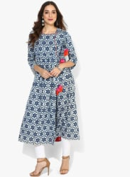 Round Neck Angrakha Indigo Printed Anankali With 3/4Th Sleeves & Embroidery Detaling On Neck