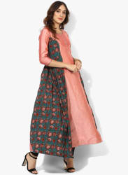 Round Neck 3/4Th Sleeves Anarkali With Printed Panells