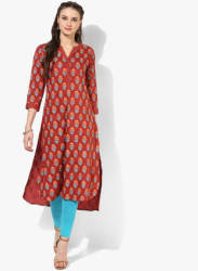 Band Collar Block Printed Kurta With 3/4Th Sleeves