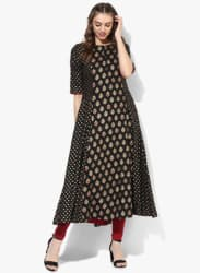 Round Neck Black & Gold Block Printed Anarkali With Mirror Printed & 3/4Th Sleeves