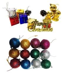 Priyankish Plastic Multicolour Christmas Tree Decoration-(Pack of 32)