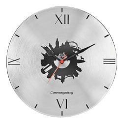 Cosmos London Designer Stainless Steel Round Wall Clock for Home (25 cm x 3 cm x 25 cm, Roman Silver)