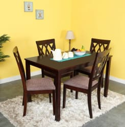 @home by Nilkamal PEAK Solid Wood 4 Seater Dining Set (Finish Color - Cappuccino)