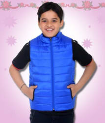 Kids-17 Blue Polyester Quilted and Bomber