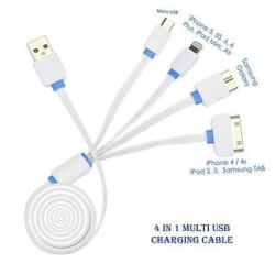 Details about USB 4 in 1 Multi Charger Cable For Samsung, Micromax,Motorola,Apple iPhones etc