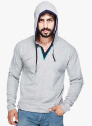 Grey Solid Hooded T Shirt