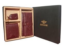 Men/Women Leather Wallet Combo - Brown