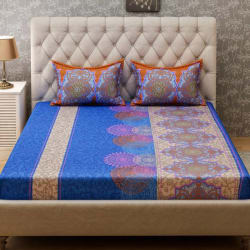 Bombay Dyeing 120 TC Cotton Double Printed Bedsheet (1 Bedsheet, 2 Pillow Covers, Blue, Orange)