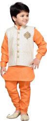 AJ Dezines Boys Festive & Party Kurta, Waistcoat and Pyjama Set (Orange Pack of 1)