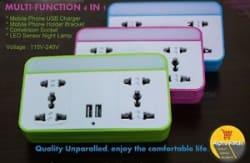 USB Multi Socket Converter Plug LED Night Lamp Mobile Stand Extension Board