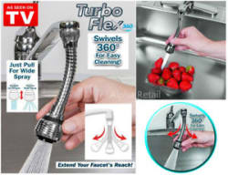 Details about Turbo Flex 360 Instant Hands Free Faucet Swivel Spray Sink Hose Kitchen Basin