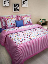 Uniqchoice 210 TC Cotton Double King 3D Printed Bedsheet (1 Bed Sheet, 2 Pillow Cover, Pink)