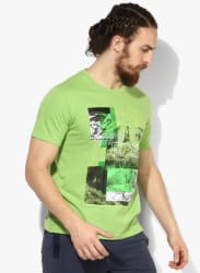 Bank Green Printed Round Neck T-Shirt